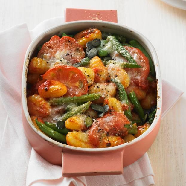 Gnocchi-Auflauf mit grünen Bohnen