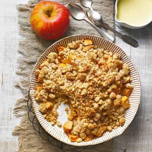 Apfel-Crumble mit Vanillesoße