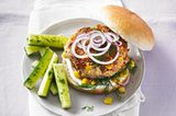 Fisch-Burger mit Mais