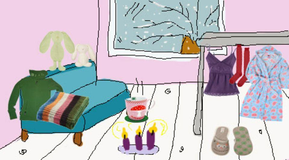 Hoodie: Bench; Plaid: Ikea; Häschen: Hunkemöller; Tasse: Adelheids Glückswerkstatt; Top: Impressionen; Strümpfe: Hunkemöller; Bademantel: Pussy Deluxe; Pantoffeln: Adelheids Glückswerkstatt