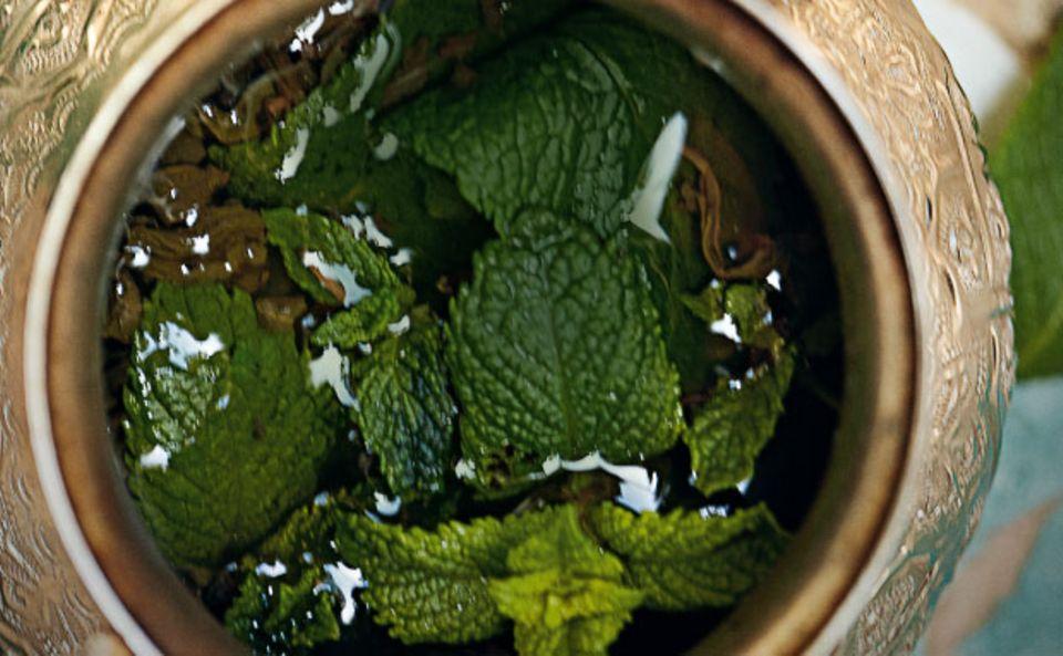 Auf einem weichen Sofa wartet man die heißen Mittagsstunden ab und trinkt einen Thé à la Menthe, einen frisch gebrühten Minztee, gewürzt mit Zucker, Anis und Safran.