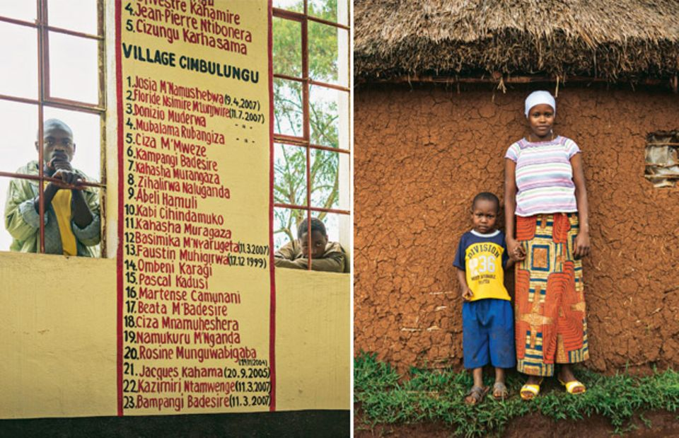 Links: Die Namen der Rebellenopfer an einer Wand im Dorf Kaniola | Rechts: Cinog'erwa M'lwakasi und ihr Sohn Daniel. Auch sie wurde verschleppt, einer der Rebellen erklärte sie zu seiner Frau. Nach 8 Monaten konnte sie fliehen und hatte Glück: Sie fand einen Mann, der sie heiratete, obwohl sie von ihrem Vergewaltiger ein Kind hat.