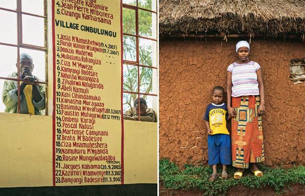 Ausbeutung im Kongo: Links: Die Namen der Rebellenopfer an einer Wand im Dorf Kaniola | Rechts: Cinog'erwa M'lwakasi und ihr Sohn Daniel. Auch sie wurde verschleppt, einer der Rebellen erklärte sie zu seiner Frau. Nach 8 Monaten konnte sie fliehen und hatte Glück: Sie fand einen Mann, der sie heiratete, obwohl sie von ihrem Vergewaltiger ein Kind hat.