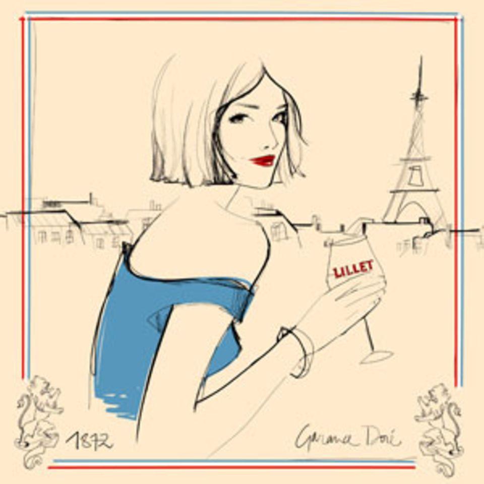 Für die Aperitiv-Marke Lillet gestaltete Garance Doré ein Seidentuch