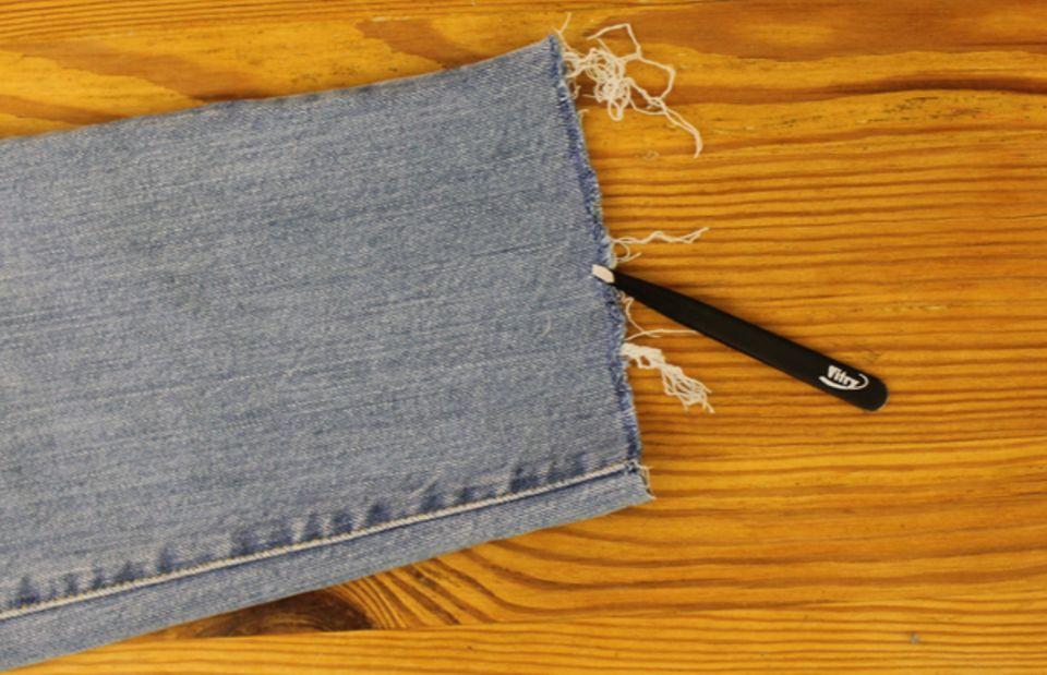 Jeans mit ausgefranstem Saum selber machen
