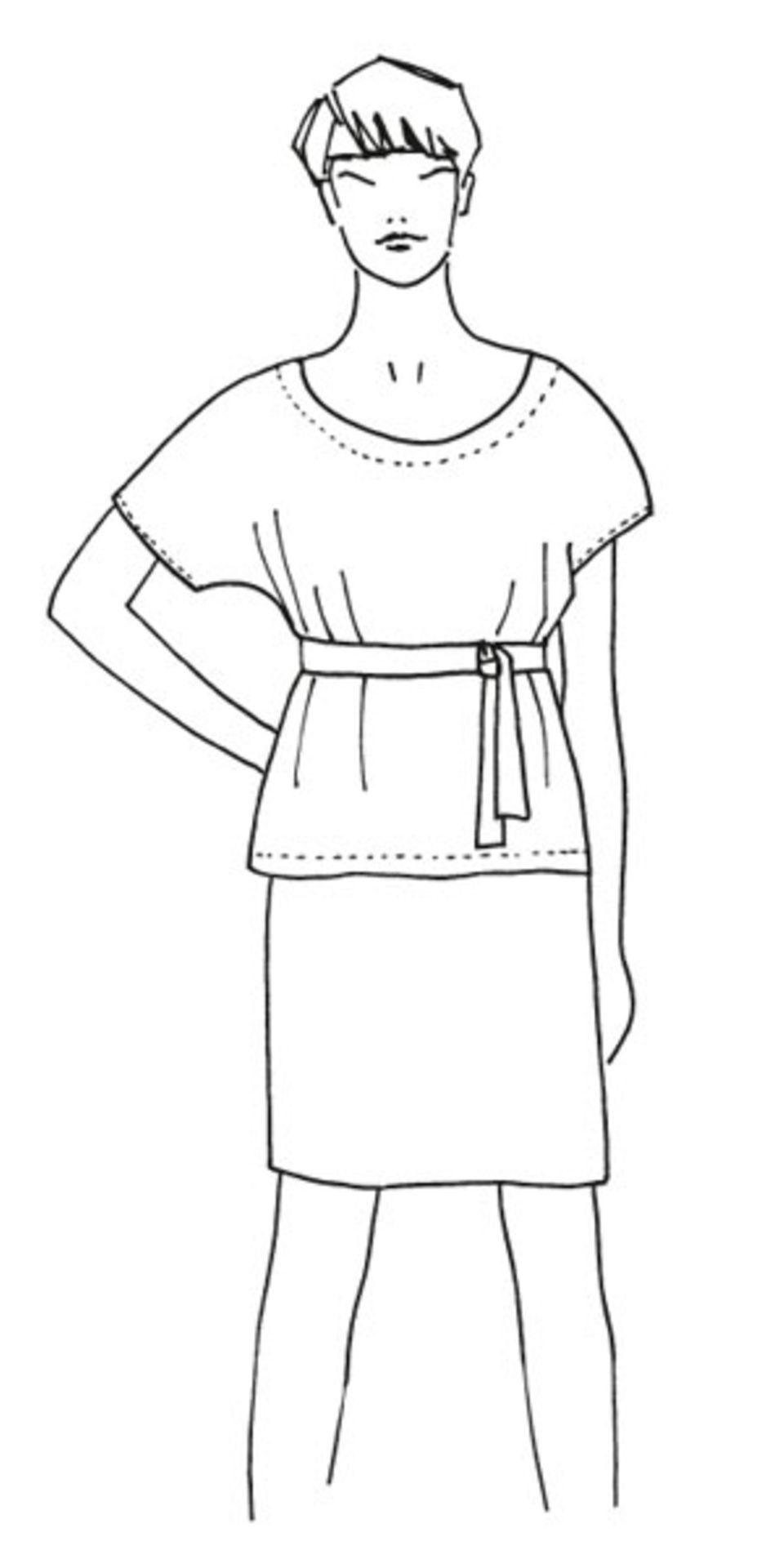 Bluse mit Gürtel nähen - eine Anleitung