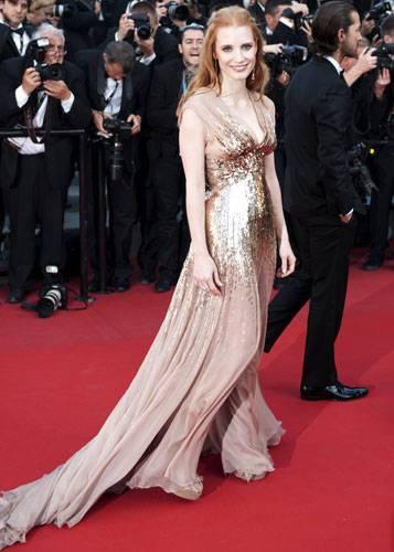 Stars in Gold-Kleidern: Jessica Chastain