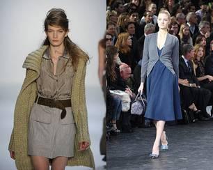 Grobstrick kommt: Der Look von Strenesse Blue (links). Cardigan bleibt: Hier bei Louis Vuitton.