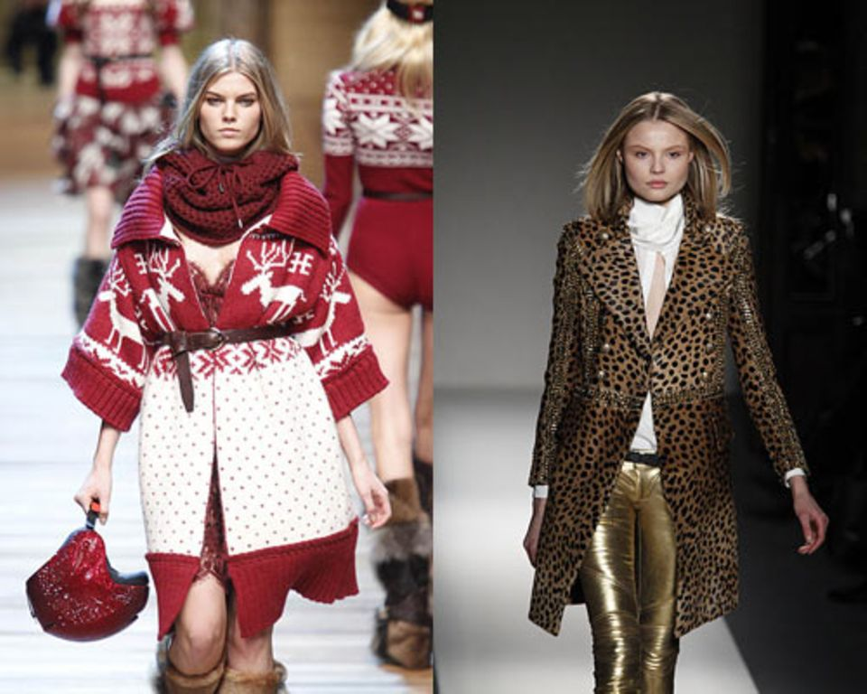 Norwegermuster kommt: Der Look von Dolce & Gabbana (links). Leoprint bleibt: Hier bei Balmain.