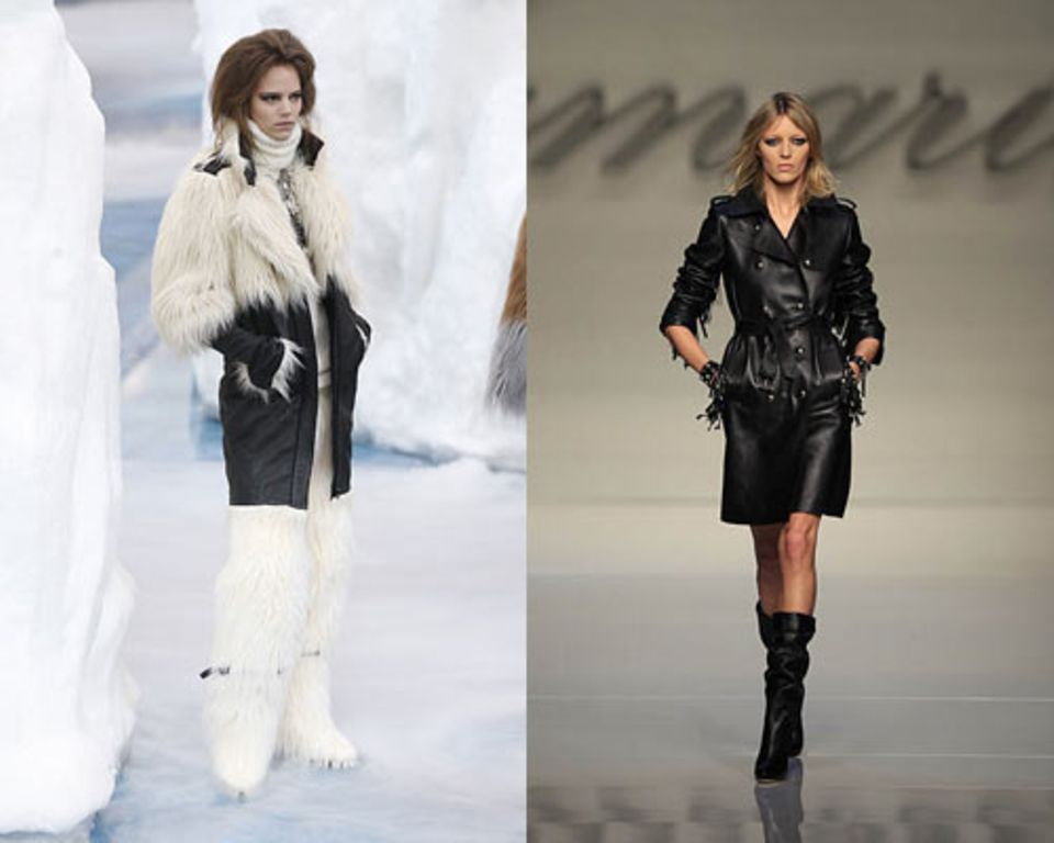 Fake-Fur kommt: Der Look von Chanel (links). Leder bleibt: Hier bei Blumarine.