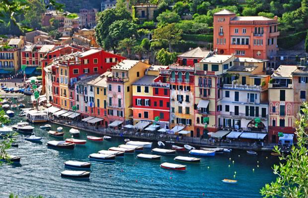 Farbenfrohe Häuser auf der Halbinsel Portofino