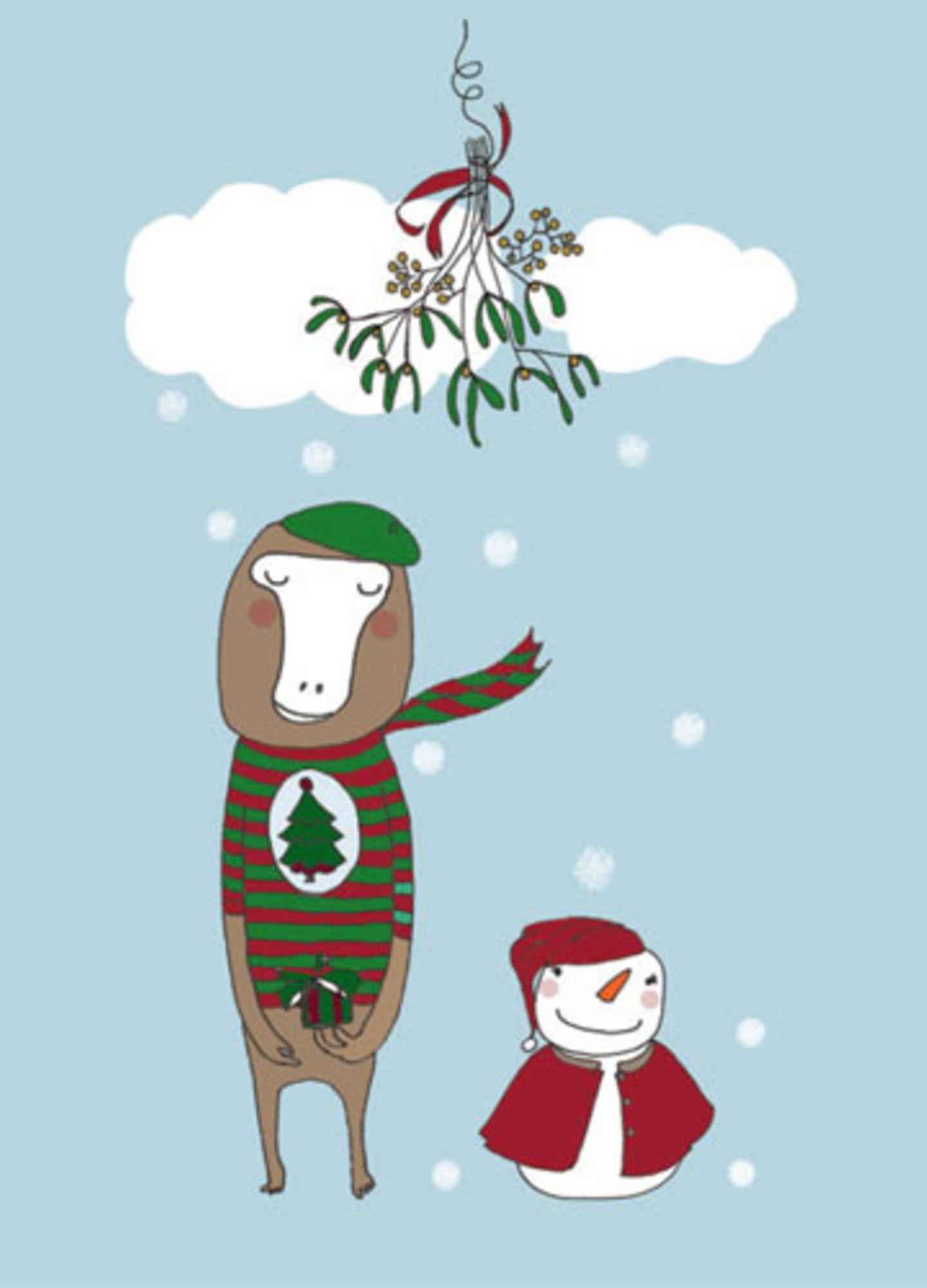 """Weihnachtskarte """"Schaf und Schneemann"""""""