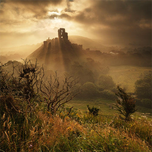 Corfe Castle in Summer Mist