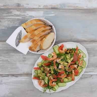 Grapefruit-Avocado-Salat mit Shrimps