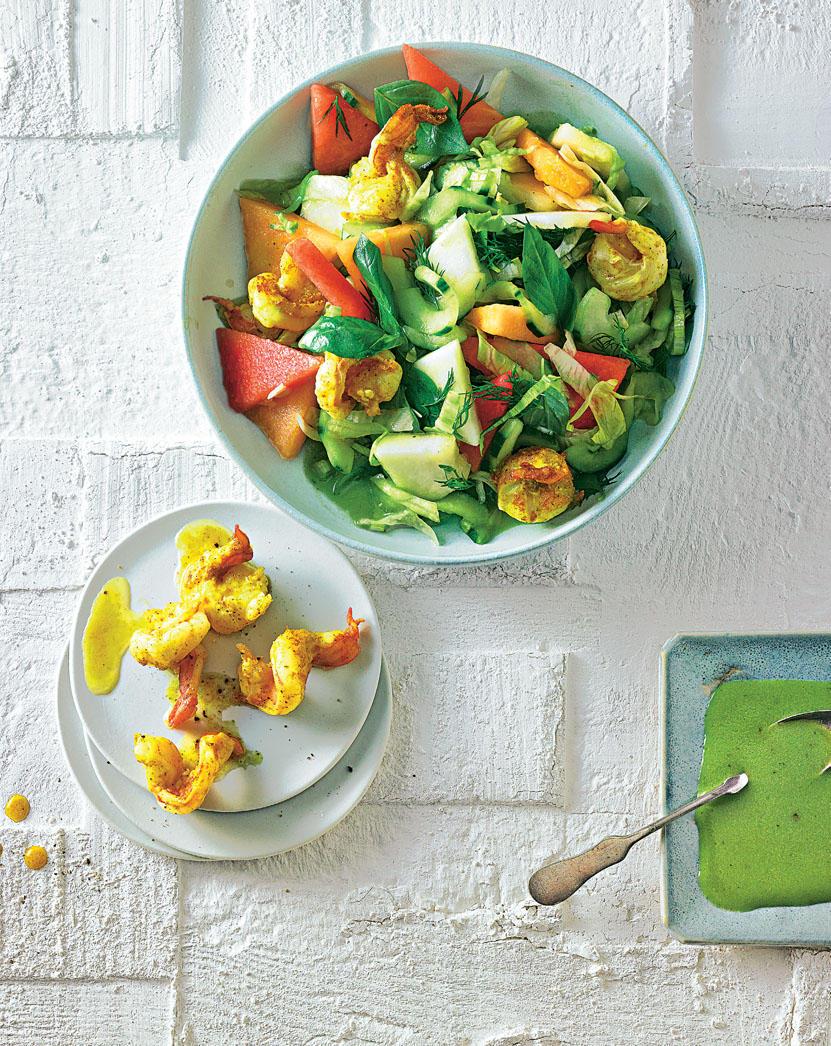 Bunter Gruken-Melone-Salat mit Garnelen