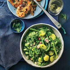 Bohnen-Kartoffelsalat mit Garnelen