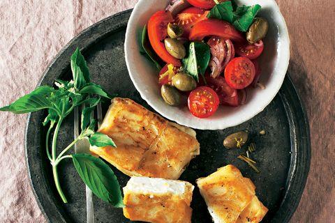 Feta-Päckchen mit Tomatensalat