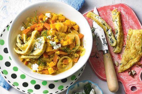 Linsencurry mit Käse-Omelett
