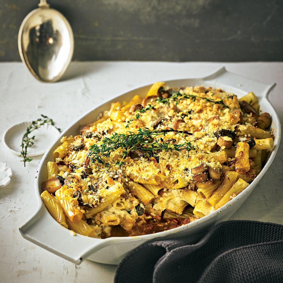 Tortiglioni-Auflauf mit Pilzen