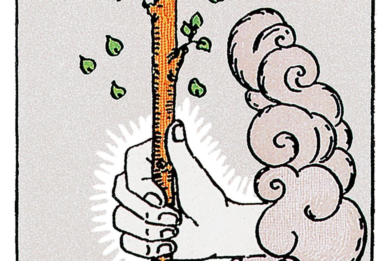 Tarotkarte Ass der Stäbe