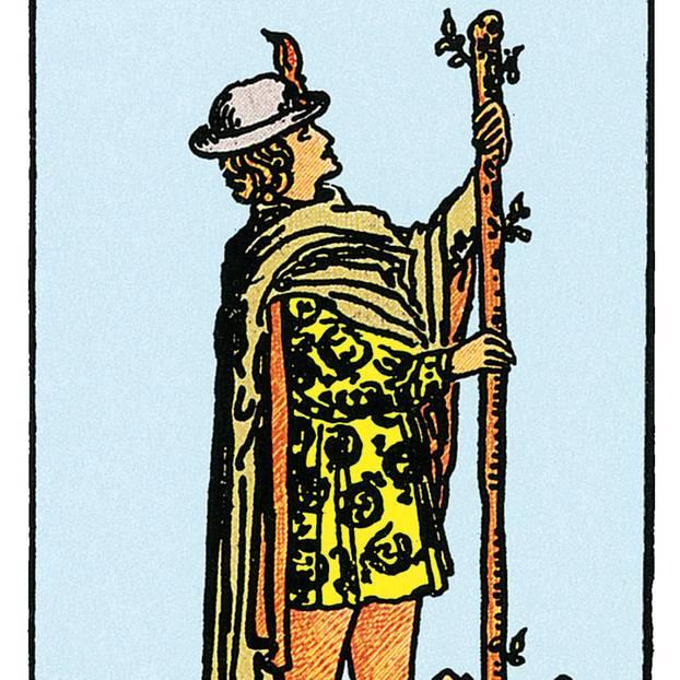 Tarotkarte Der Bube der Stäbe