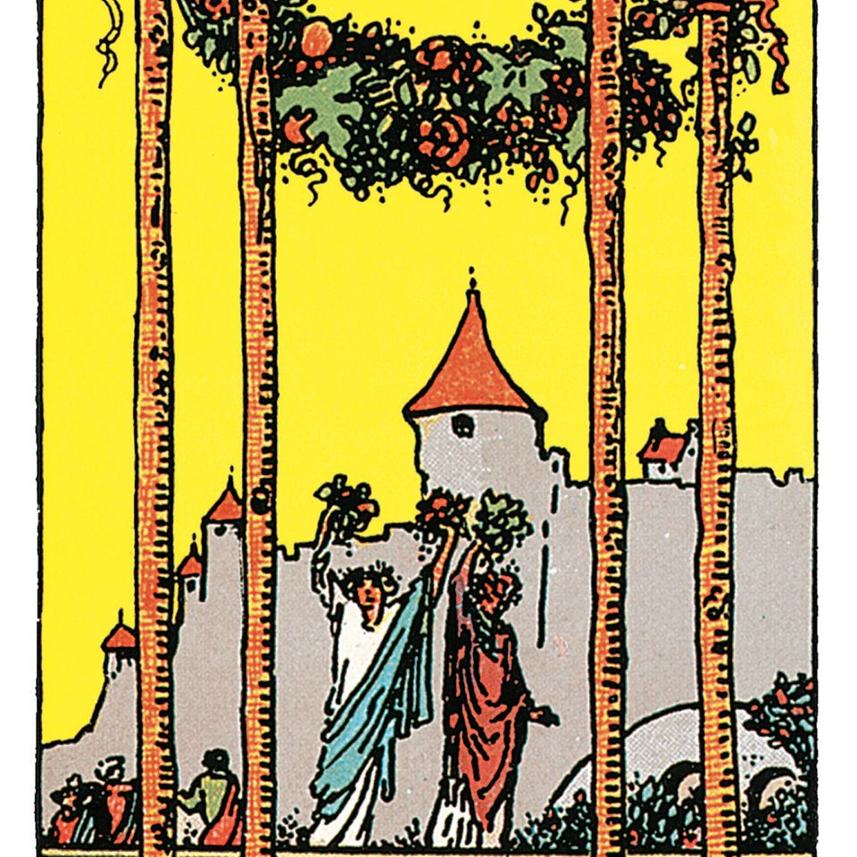 Tarotkarte Vier der Stäbe