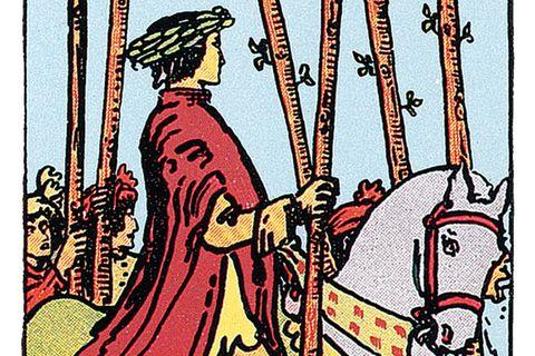 Tarotkarte Sechs der Stäbe
