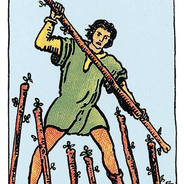 Tarotkarte Sieben der Stäbe