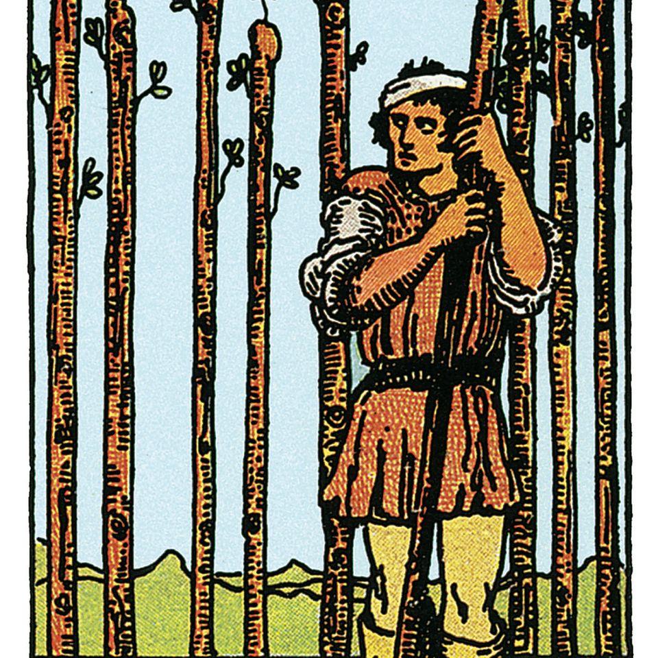 Tarotkarte Neun der Stäbe