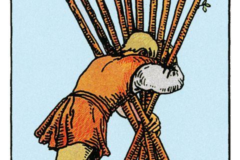 Tarotkarte Zehn der Stäbe