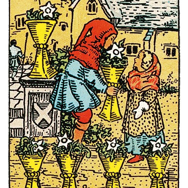 Tarotkarte Sechs der Kelche