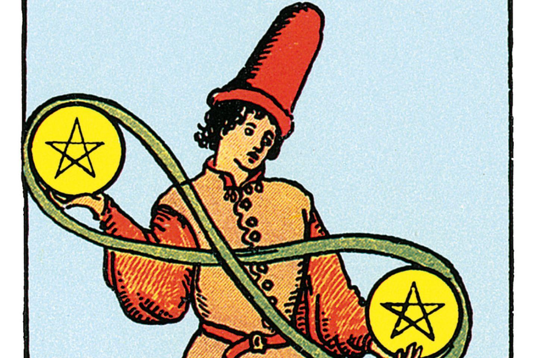 Tarotkarte Zwei der Münzen