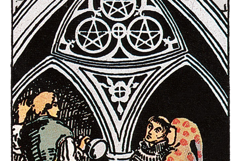 Tarotkarte Drei der Münzen