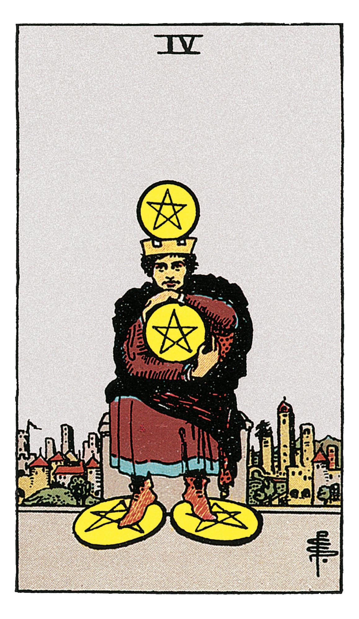 Vier Der Münzen Deine Tarotkarte Brigittede