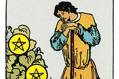 Tarotkarte Sieben der Münzen