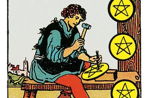 Tarotkarte Acht der Münzen