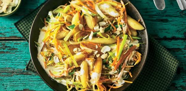 Schupfnudeln mit karamellisiertem Suppengrün