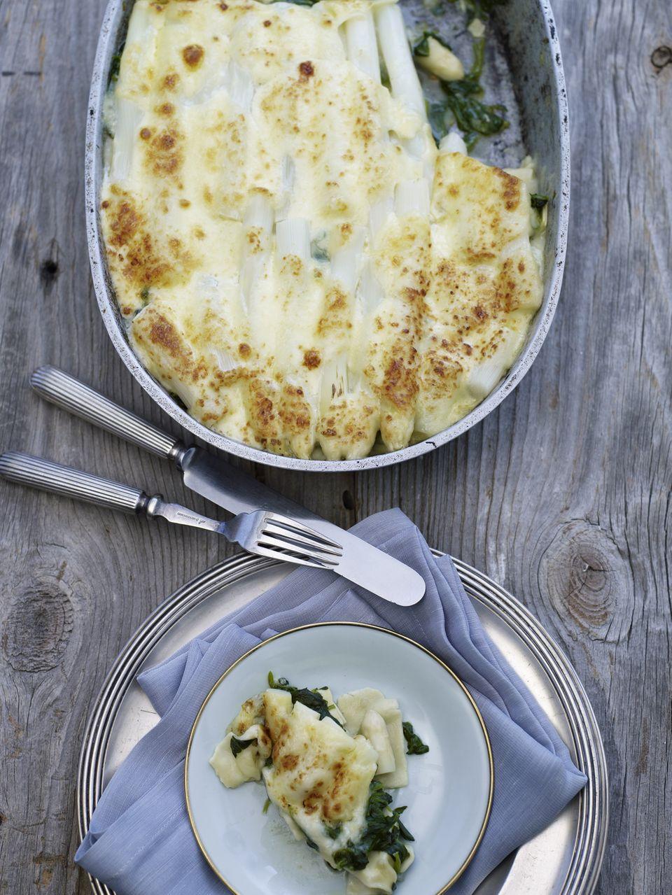 Spargel überbacken als Lasagne