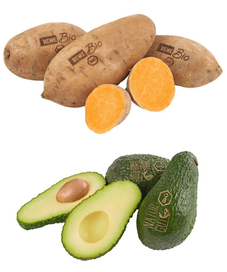 Süßkartoffeln und Avocados