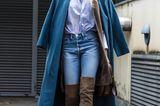 Jeanslooks aus Mailand: Jeans mit Overknee-Stiefeln