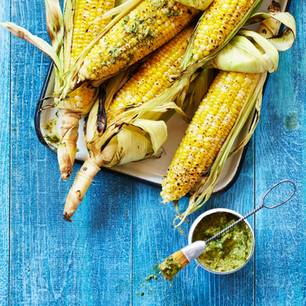 Maiskolben grillen: gegrillte Maiskolben auf blauem Hintergrund