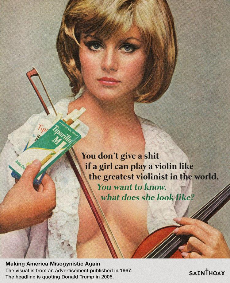 """""""Scheiß drauf, wenn ein Mädchen Geige spielen kann wie der größte Geiger der Welt. Du willst wissen: Wie sieht es aus?"""" Die Zigarettenwerbung mit der leicht bekleideten Geigerin ist fast 50 Jahre alt."""