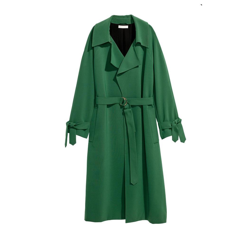 Langer grüner Mantel mit Taillenband