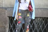 Mustermix-Streetstyles: Streifentuch & Jeans mit Patches