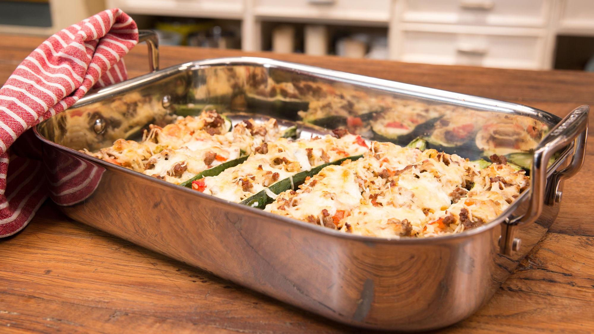 Zucchini mit Hackfleisch-Reis-Füllung