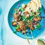 Köfte mit Möhren-Porree-Gemüse und Kefir-Dressing