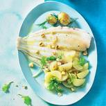Gebratenes Schollenfilet mit Mairübchen und Dill-Kartoffeln