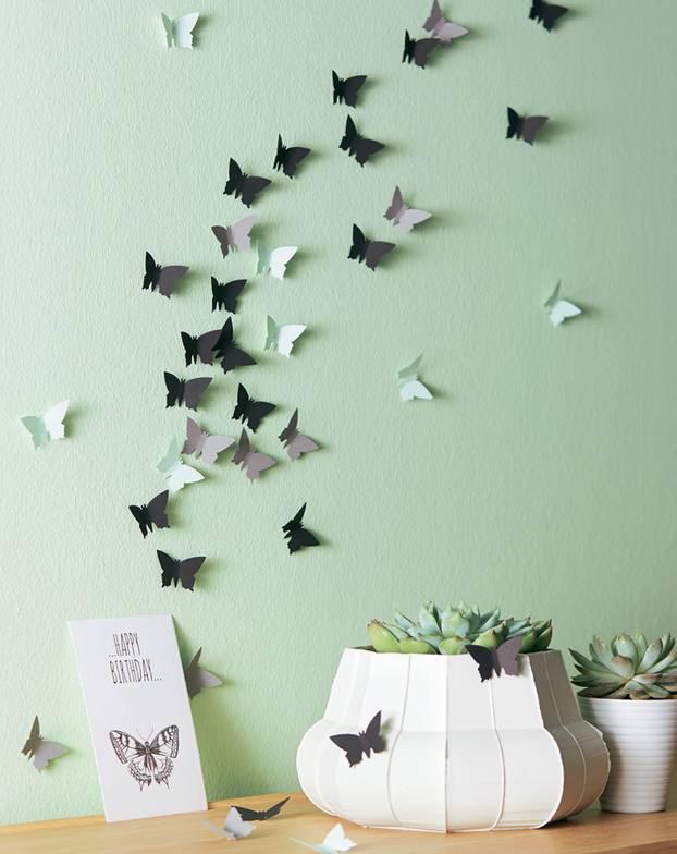 Wanddekoration selber machen anleitung  Wanddeko mit Schmetterlingen - einfach selber machen! | BRIGITTE.de