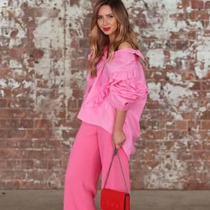 Streetstyle mit Volant-Bluse und Culottes bei der MBFW Australia 2017