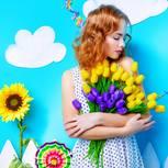 Danke sagen: Frau mit Blumen